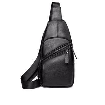 stmartshop กระเป๋าคาดอกหนัง Travel Shoulder Bag รุ่ง stm6507 (สีดำ)