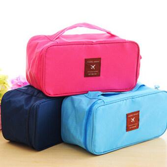 DUGADEE กระเป๋าใส่ชุดชั้นใน กระเป๋าจัดระเบียบ กระเป๋าหิ้วใบเล็กใส่กางเกงใน เสื้อในบิกีนี่ (สีชมพู)