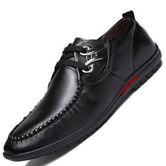 PINSV Synthethic หนังรองเท้าหนังคู่ธุรกิจสบาย ๆ (สีดำ)