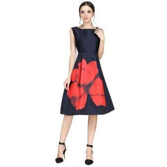 ดอกไม้สวยดอกไม้หญิงสวมเสื้อเรโทรพิมพ์เสื้อแฟชั่นเสื้อผ้าชุดงานราตรีไซส์พิเศษ S-XXXL