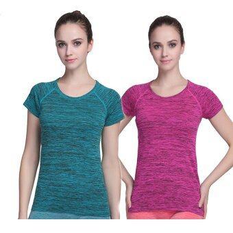 PBx - Exercise Lady T Shirt -เสื้อออกกำลังกาย ฟิตเน็ต ปั่นจักรยาน ผู้หญิง ฟ้า+ชมพู(2ตัว)