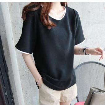 Dolly เสื้อยืดแฟชั่น ผู้หญิง T-Shirt คอกลม แต่งแถบขาว (สีดำ) รุ่น560