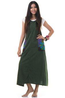 Princess of Asia ชุดเดรสยาวผูกเอว เดรสผ้าฝ้ายปะดอกไม้ (สีเขียว)