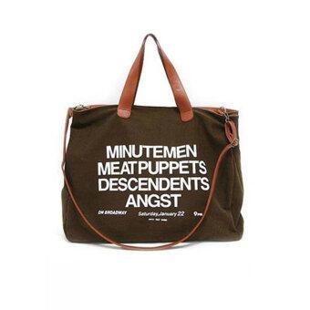 YBC ผู้หญิงอเนกประสงค์กระเป๋าถือกระเป๋าสะพายผ้าใบพิมพ์จดหมายสีน้ำตาล