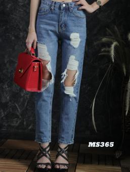 Platinum Fashion กางเกงยีนส์ขายาวเอวสูง ทรงบอย แต่งขาด รุ่นMS365