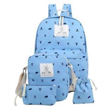 กระเป๋านักเรียนลายสัตว์ 4in1 (สีฟ้าอ่อน)