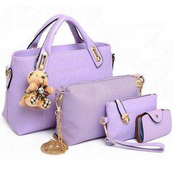 RichCoco SET กระเป๋าแฟชั่นเกาหลี + กระเป๋าสตางค์ผู้หญิง + กระเป๋าสะพายข้าง +กระเป๋าใส่นามบัตร เซ็ต 4 ใบ (สีม่วง)