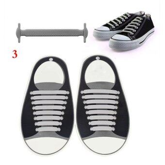 Harga Gracefulvara 16Pcs Lazy No Tie Shoelaces Silicone Shoelaces Elastic Shoe Laces for Sneakers - Gray