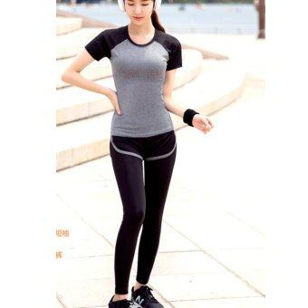 Dolly เซ็ทชุดออกกำลังกาย โยคะผู้หญิง รุ่น กางเกงขายาว2ชั้น(4021) + เสื้อแขนสั้น (4001) สีเทา