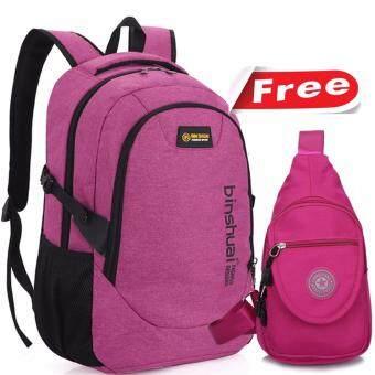 Peimm Modello Binsh Story Set Backpack & Shoulder Bag กระเป๋าเป้สะพายหลัง เป้ใส่Notebook กันน้ำ + กระเป๋าสะพายพาดลำตัว กระเป๋าคาดอก สไตส์เกาหลี (สีชมพู)