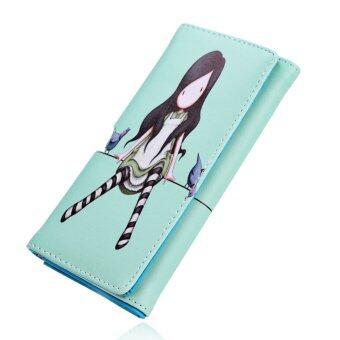 ผู้หญิงน่ารักแต่งตัวกระเป๋าสตางค์ที่เก็บบัตรพิมพ์ Ractangle (สีเขียว)-ระหว่างประเทศ