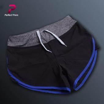 Perfect Pairs กางเกงขาสั้น ออกกำลังกาย สีดำแถบน้ำเงิน - มีซับในทั้งตัว ขอบเอวกระชับ มีเชือกผูก