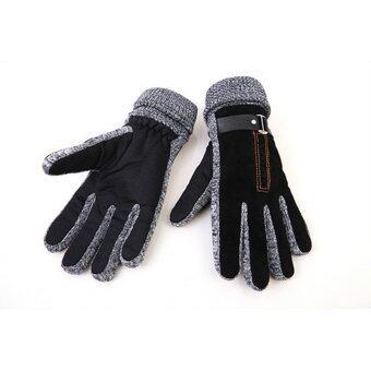 คนฝางแฟชั่นร้อนสีดำ/สีน้ำตาลถุงมือขนสัตว์อุ่นหนาวเต็มหนัง Pu กันน้ำผู้ชายขับซับในถุงมือถุงมือ