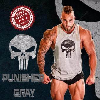 Elit Gym เสื้อกล้าม เข้ารูป เสื้อฟิตเนส ออกกำลังกาย Punisher Gray Tank Top Gym Fitness (สีเทา)