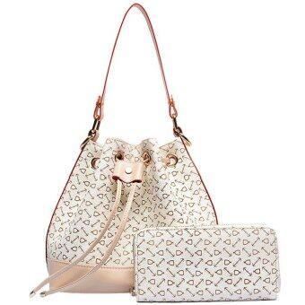 RichCoco กระเป๋าแฟชั่นเกาหลี + กระเป๋าสตางค์ เซ็ต 2 ใบ(สีขาว)