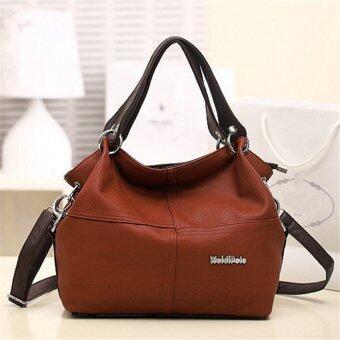 กระเป๋าถือสตรีหนังกระเป๋านักเรียนส่งกระเป๋าสะพายไหล่ตายสีน้ำตาล