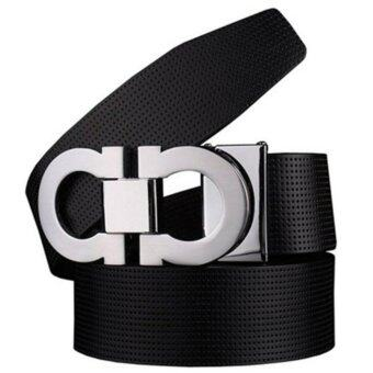 Harga OVIA Reversible Men's Smooth Leather Buckle Belt 35mm Leather up to 42inch, Black-Silver - intl