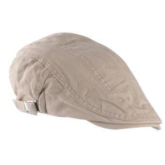 เพศหญิงชายคนขับรถ ซึ่งสวมหมวกสวมหัวแบนตลอดไป Gatsby กอล์ฟหมวกสีเบจ