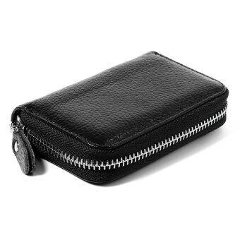 จริง ๆ บัตรเครดิตที่เก็บบัตรธุรกิจเครื่องหนังกระเป๋ากระเป๋าสตางค์กับกระเป๋ามีซิปถอดสีดำ MT280-SZ