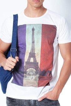 5th Avenue เสื้อยืดคอกลม France Flag Front Print (White)