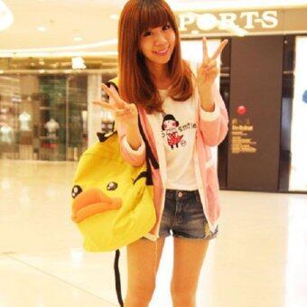Bag Fashion กระเป๋าเป๋แฟชั่นสะพายหลัง ลายเป็ด สีเหลือง รุ่น012 (image 2)