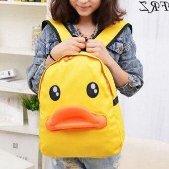 Bag Fashion กระเป๋าเป๋แฟชั่นสะพายหลัง ลายเป็ด สีเหลือง รุ่น012 (image 1)