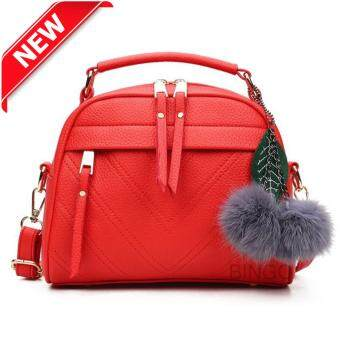 Wonderful story กระเป๋าสะพายข้าง กระเป๋าเป้ผ้าไนลอน SKN607 Premium PU Leather Crossbody Bag- (RED )