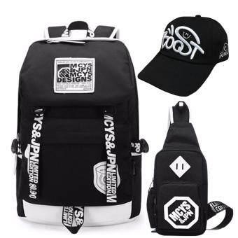 Peimm Modello Value Set Backpack & Shoulder Bag MCYS กระเป๋าเป้สะพายหลัง กันน้ำ+กระเป๋าสะพายพาดลำตัว + หมวก กระเป๋าคาดอก เป้ท่องเที่ยว เป้ใส่โน๊ตบุ๊ค สไตส์เกาหลี (สีดำ)