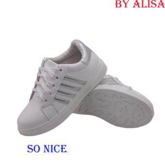 Alisa Shoes รองเท้าผ้าใบแฟชั่นสปอร์ต รุ่น JS-75 White Silver
