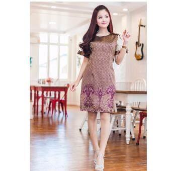 ชุดเดรสผ้าไทยสีม่วงลายเชิงนกยูง dt29(สีม่วง)