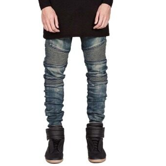 ชายสวมกางเกงยีนส์กางเกงกางเกงยีนส์ผอมเพียว