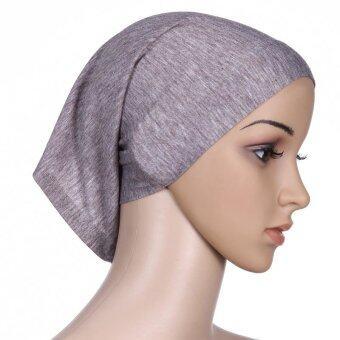 Yika Stretchble ฮิญาบนุ่มภายในหมวกมุสลิมอิสลาม Underscarf หาดขนาดเดียว (สีเทา)-ระหว่างประเทศ