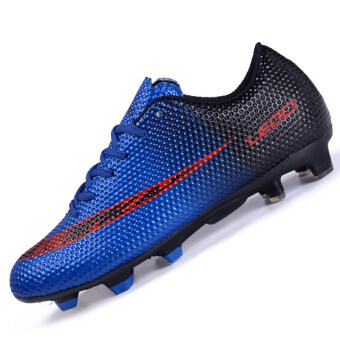 Harga PINSV Men's Outdoor Football Shoes Boots Spike Soccer Shoes (Navy) - Intl