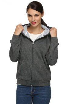 ผู้หญิงชวนไซเบอร์ ACEVOG แจ็กเก็ตเสื้อฮู้ดฮู้ดคอสีทึบแบบซิป (หลายสี)