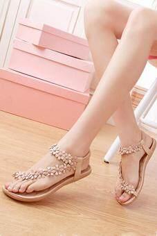 ไอร้อนดอกไม้บ้านขายร้อนรองเท้าแตะลำลองผู้หญิงโบฮีเมีย Toepost รองเท้าแฟลตแอปริคอท