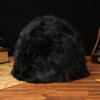 โอท่านหญิงแฟชั่นหมวกถักขนกระต่ายรัสเซียหนาวร้อนหมวกสตรีหมวกสีดำ