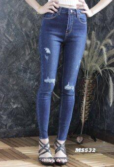Platinum Fashion กางเกงยีนส์ขายาวเอวสูง ทรงสกินนี่ แต่งขาดลุ่ยๆไม่โชว์เนื้อ รุ่นMS532