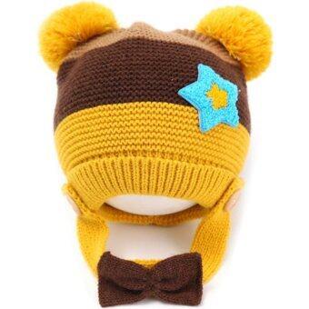 Passion Shop GZMM หมวกไหมพรมเด็กเกาหลี พร้อมสายรัดคาง ติดโบว์ สีเหลือง