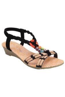 ไอ๊เม็ดแฟลต Flip Flops รองเท้าชายหาดบ้านรองเท้าแตะโบฮีเมียหลากสี (สีดำ)