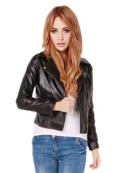 ได้แก่ เฉียวผู้หญิงผอม ๆ เสื้อแจ็คเก็ตหนัง Pu (สีดำ)