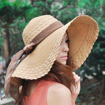 KPshop หมวกปีกกว้าง หมวกแฟชั่น หมวกไปทะเล รุ่น LH-004 (สีน้ำตาล)