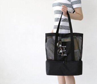 กระเป๋าถือ กระเป๋าสะพายไหล่จากเกาหลี มีช่องเก็บความเย็นรักษาอุณหภูมิ สีดำ