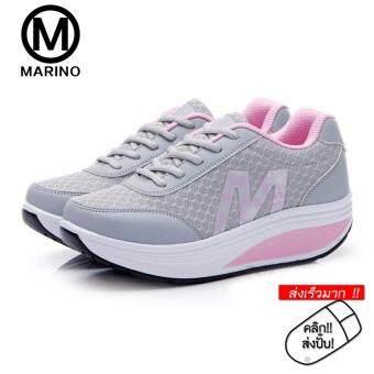 Marino รองเท้าผ้าใบ รองเท้าเพิ่มความสูงสำหรับผู้หญิง No.A012 - Grey/Pink