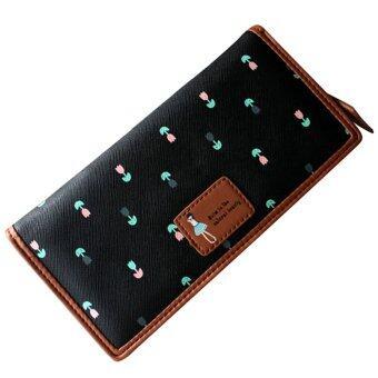 หญิงสาวดอกไม้แบบหนังเทียมกระเป๋าถือกระเป๋าสตางค์กระเป๋าถือบัตรคลัตช์สีดำ-ระหว่างประเทศ