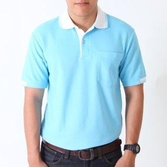 POLOMAKER เสื้อโปโล KanekoTK PK021 สีฟ้าสว่างปกขาว (Male)