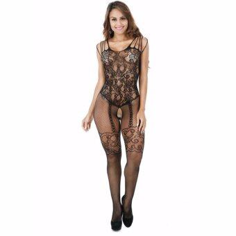 Harga Hequ Manufacturers wholesale lingerie suspenders taste suits opening legs taste clothes Black - intl