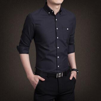 นิวแฟชั่นเสื้อเชิ้ตผู้ชายหล่อธุรกิจหลากหลายสีแขนยาวเสื้อสันทนาการขนาดใหญ่ (สีดำ)-ระหว่างประเทศ