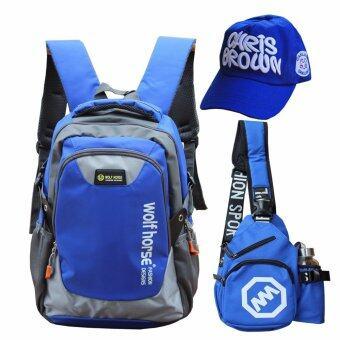 Peimm Modello Value Set 3 ชิ้น กระเป๋าเป้สะพายหลัง ใบใหญ่ 49 Cm + กระเป๋าสะพาย กระเป๋าคาดอก + หมวก กันน้ำ มัลติฟังก์ชั่น (สีน้ำเงิน)