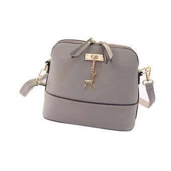 นิวส่งถุงเหล้าองุ่นผู้หญิงกระเป๋าหนังกระเป๋าลำลองเปลือกสีเทา-ระหว่างประเทศ