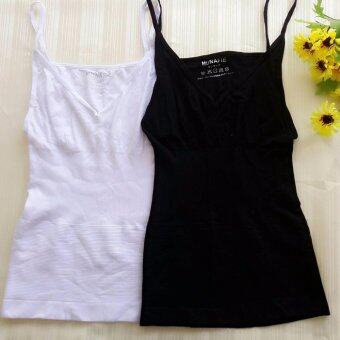 MUNAFIE slimming vest เสื้อกระชับสัดส่วน เก็บส่วนเกิน (สีดำ+สีขาว) - 2 ตัว
